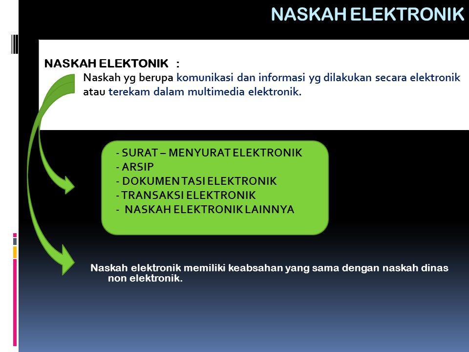 - SURAT – MENYURAT ELEKTRONIK - ARSIP - DOKUMEN TASI ELEKTRONIK - TRANSAKSI ELEKTRONIK - NASKAH ELEKTRONIK LAINNYA NASKAH ELEKTRONIK Naskah elektronik