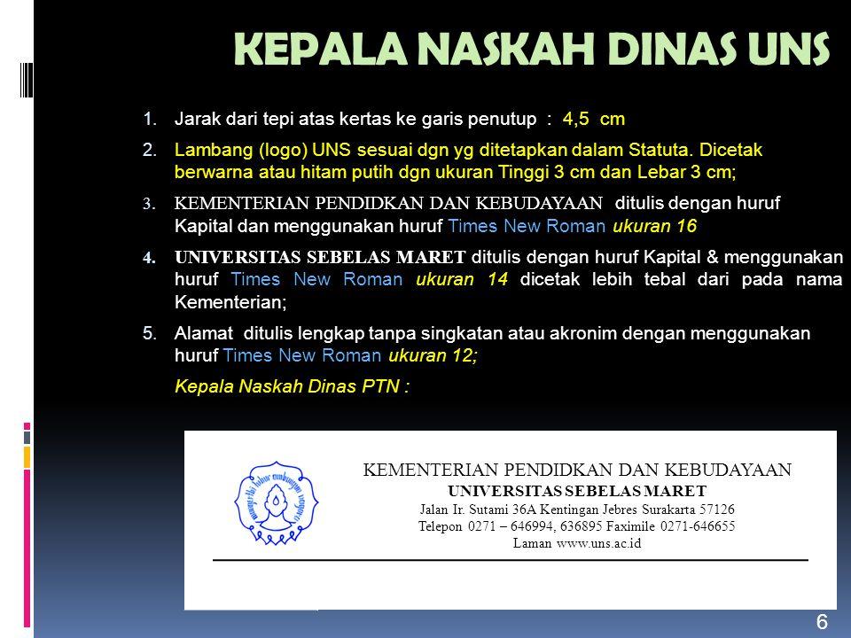 CONTOH PEMBERIAN NOMOR dan KODE NASKAH DINAS Surat yang dibuat & ditandatangani oleh DEKAN & PD F.
