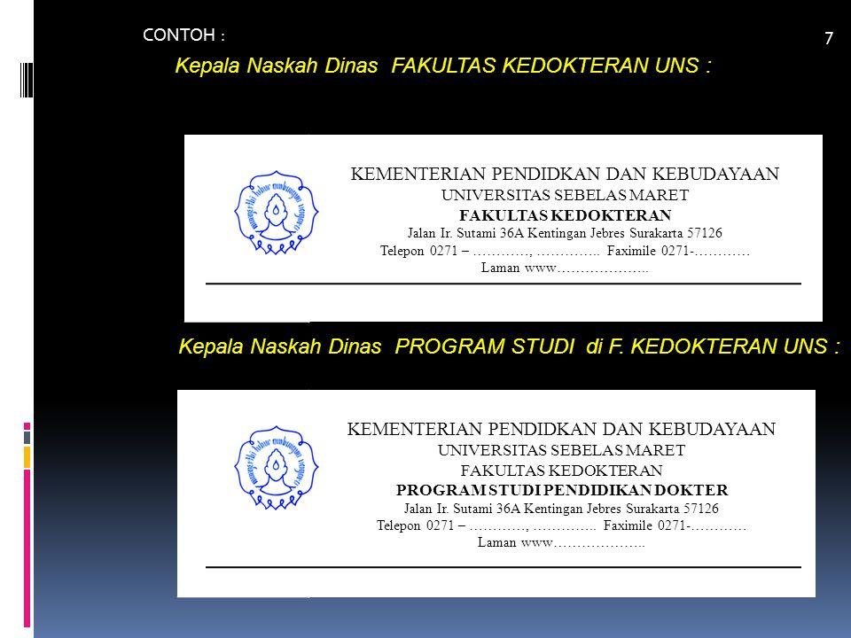 CONTOH PEMBERIAN NOMOR dan KODE NASKAH DINAS Surat yang dibuat & ditandatangani oleh PRESIDEN BEM FK 05/UN27.06.4/KM/2014 nomor urut surat keluar kode UNS - Fak.