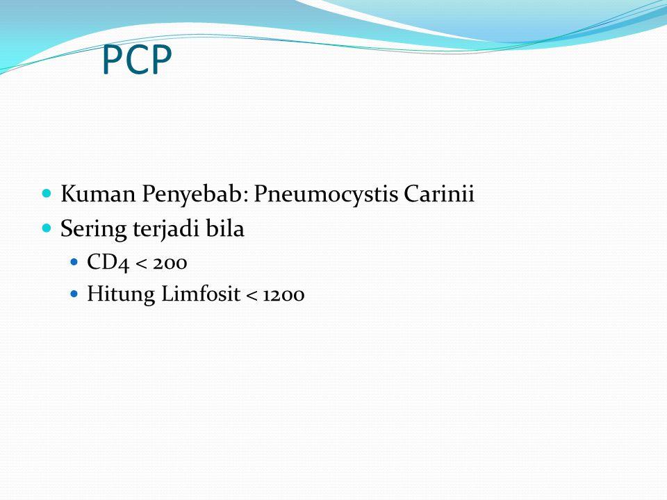 PCP Kuman Penyebab: Pneumocystis Carinii Sering terjadi bila CD4 < 200 Hitung Limfosit < 1200