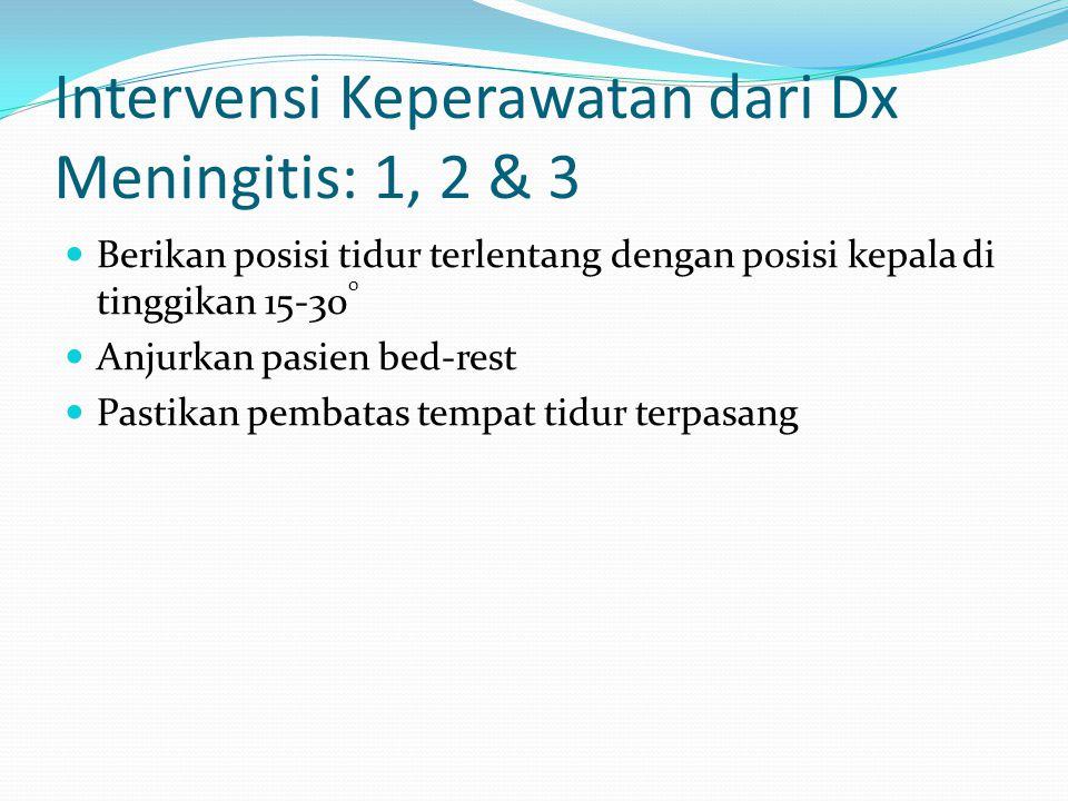 Intervensi Keperawatan dari Dx Meningitis: 1, 2 & 3 Berikan posisi tidur terlentang dengan posisi kepala di tinggikan 15-30 0 Anjurkan pasien bed-rest