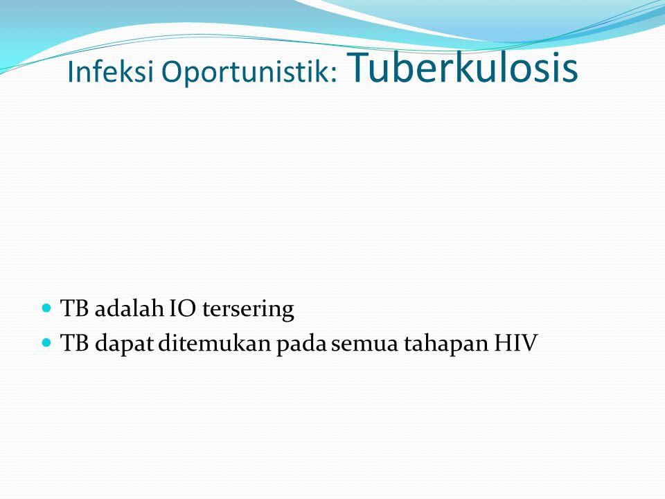 Infeksi Oportunistik: Tuberkulosis TB adalah IO tersering TB dapat ditemukan pada semua tahapan HIV