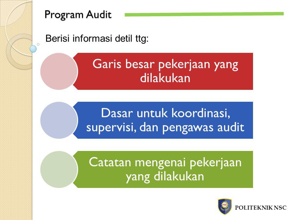 Program Audit POLITEKNIK NSC Berisi informasi detil ttg: Garis besar pekerjaan yang dilakukan Dasar untuk koordinasi, supervisi, dan pengawas audit Catatan mengenai pekerjaan yang dilakukan