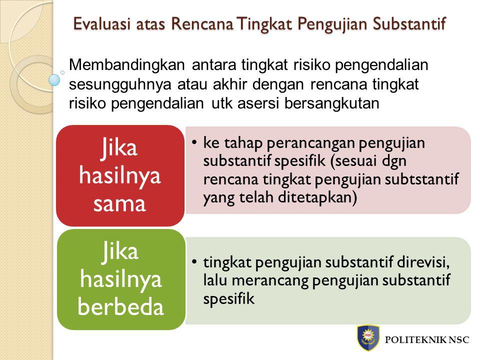 Evaluasi atas Rencana Tingkat Pengujian Substantif POLITEKNIK NSC Membandingkan antara tingkat risiko pengendalian sesungguhnya atau akhir dengan renc