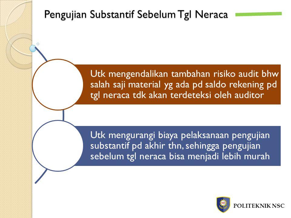 Pengujian Substantif Sebelum Tgl Neraca POLITEKNIK NSC Utk mengendalikan tambahan risiko audit bhw salah saji material yg ada pd saldo rekening pd tgl