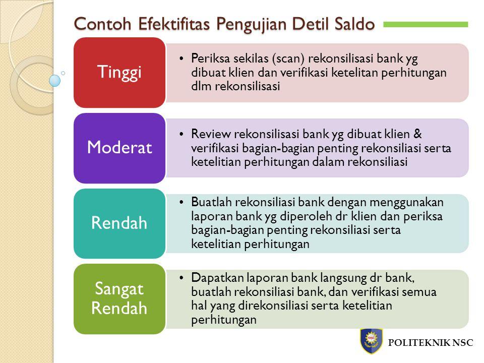 Contoh Efektifitas Pengujian Detil Saldo POLITEKNIK NSC Periksa sekilas (scan) rekonsilisasi bank yg dibuat klien dan verifikasi ketelitan perhitungan