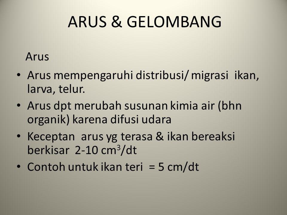 ARUS & GELOMBANG Arus mempengaruhi distribusi/ migrasi ikan, larva, telur.