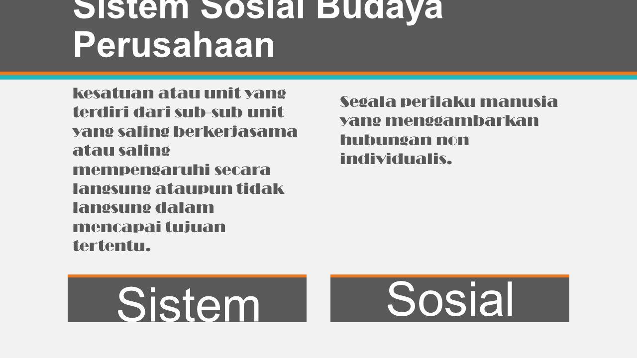 Sistem Sosial Budaya Perusahaan Sistem Sosial kesatuan atau unit yang terdiri dari sub-sub unit yang saling berkerjasama atau saling mempengaruhi secara langsung ataupun tidak langsung dalam mencapai tujuan tertentu.