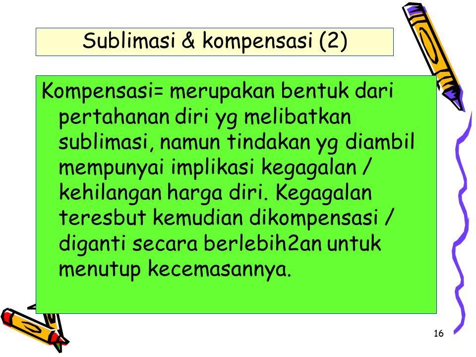 16 Sublimasi & kompensasi (2) Kompensasi= merupakan bentuk dari pertahanan diri yg melibatkan sublimasi, namun tindakan yg diambil mempunyai implikasi