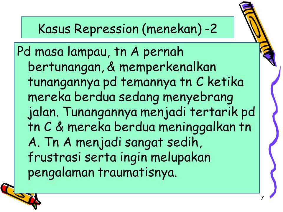 7 Kasus Repression (menekan) -2 Pd masa lampau, tn A pernah bertunangan, & memperkenalkan tunangannya pd temannya tn C ketika mereka berdua sedang men