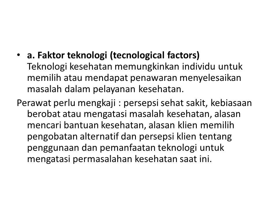 a. Faktor teknologi (tecnological factors) Teknologi kesehatan memungkinkan individu untuk memilih atau mendapat penawaran menyelesaikan masalah dalam