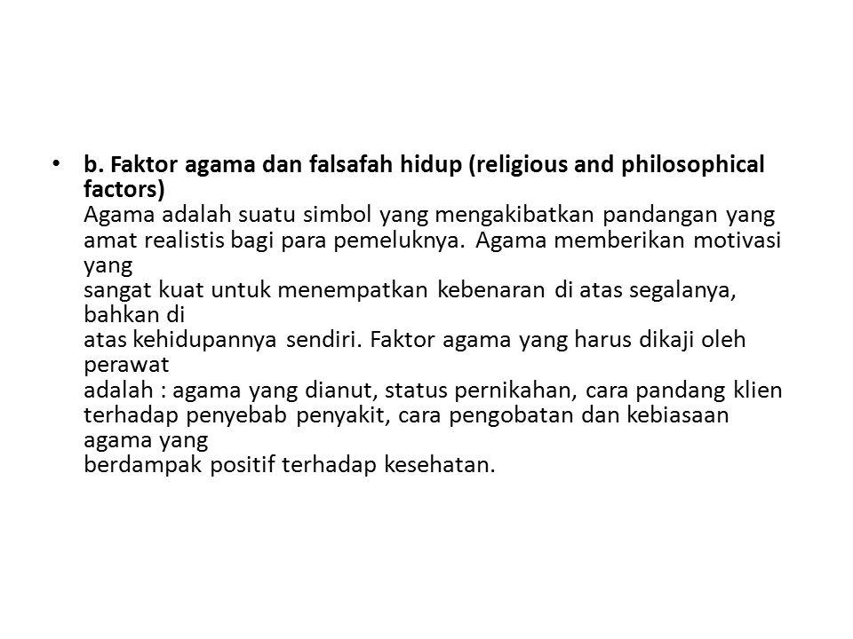 b. Faktor agama dan falsafah hidup (religious and philosophical factors) Agama adalah suatu simbol yang mengakibatkan pandangan yang amat realistis ba
