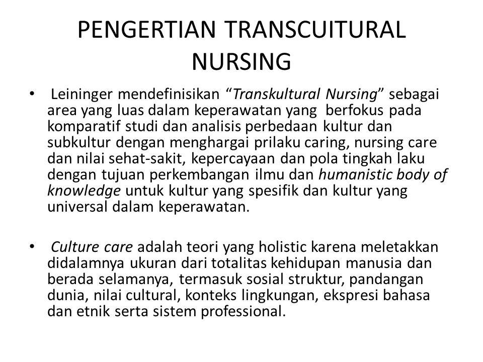 Tujuan dari transkultural dalam keperawatan adalah kesadaran dan apresiasi terhadap perbedaan kultur.