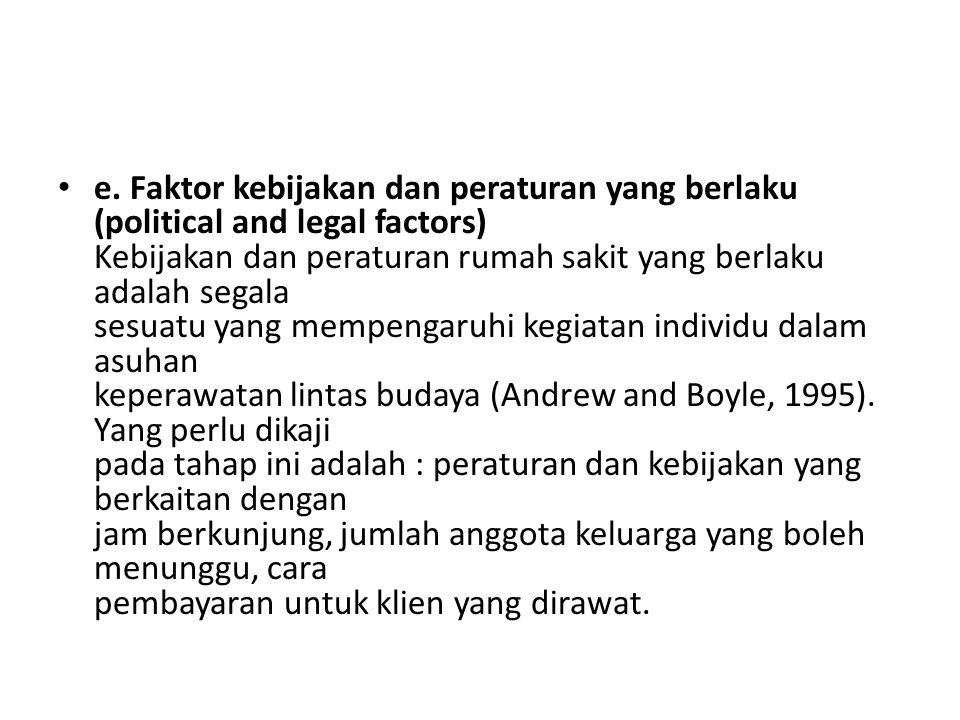 e. Faktor kebijakan dan peraturan yang berlaku (political and legal factors) Kebijakan dan peraturan rumah sakit yang berlaku adalah segala sesuatu ya