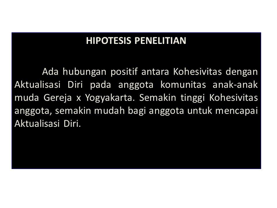 HIPOTESIS PENELITIAN Ada hubungan positif antara Kohesivitas dengan Aktualisasi Diri pada anggota komunitas anak-anak muda Gereja x Yogyakarta. Semaki