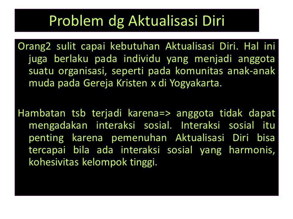 Problem dg Aktualisasi Diri Orang2 sulit capai kebutuhan Aktualisasi Diri. Hal ini juga berlaku pada individu yang menjadi anggota suatu organisasi, s