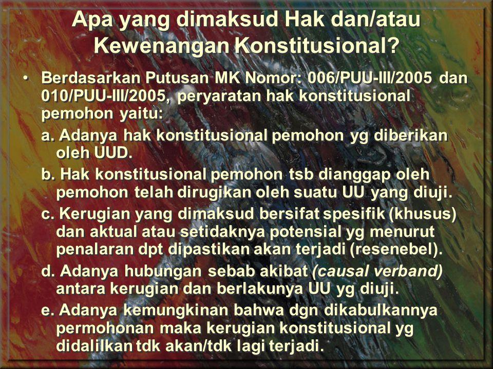 Legal Standing (Beberapa Contoh Putusan MK) 1.Individu Warganegara Indonesia Putusan MK No.