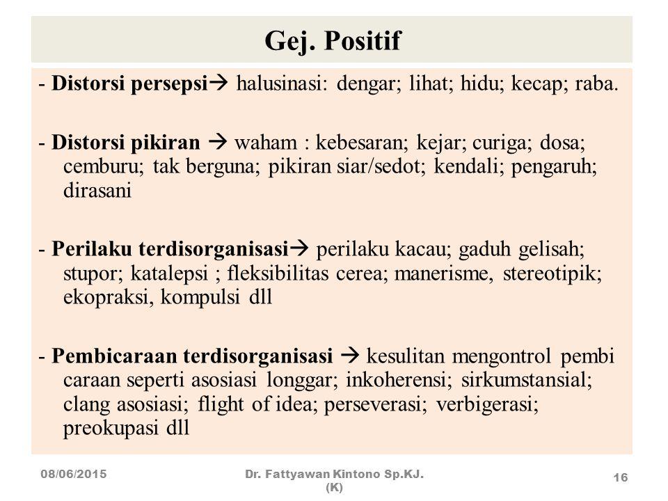 Gej. Positif - Distorsi persepsi  halusinasi: dengar; lihat; hidu; kecap; raba. - Distorsi pikiran  waham : kebesaran; kejar; curiga; dosa; cemburu;