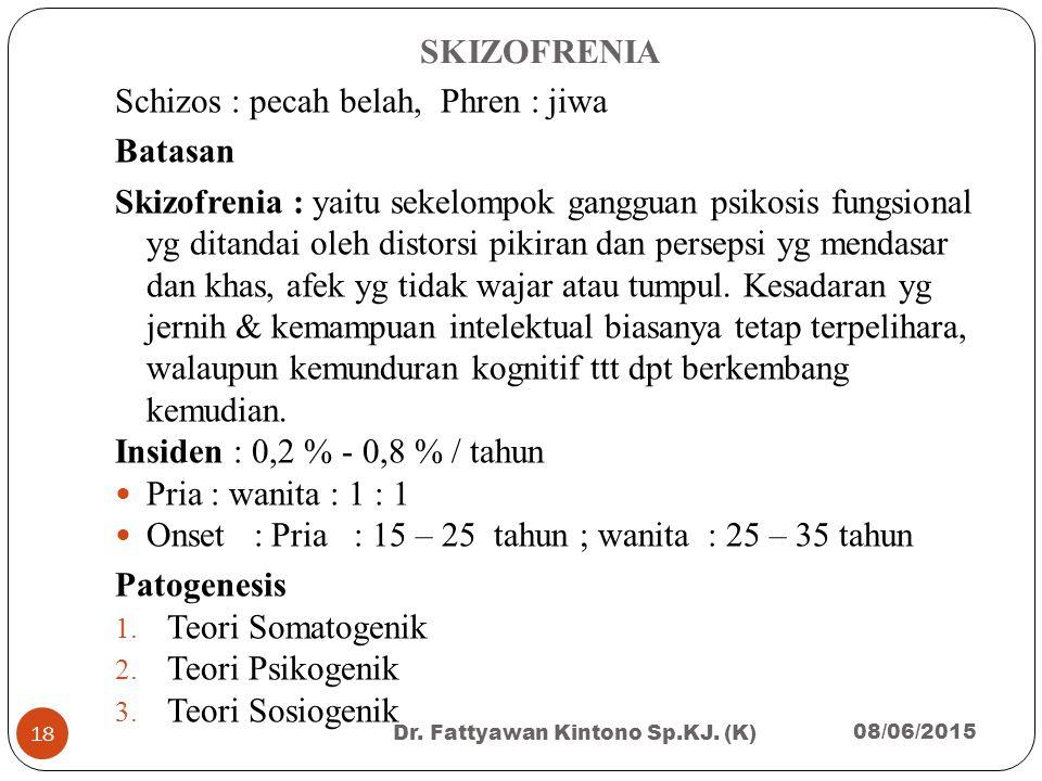SKIZOFRENIA Schizos : pecah belah, Phren : jiwa Batasan Skizofrenia : yaitu sekelompok gangguan psikosis fungsional yg ditandai oleh distorsi pikiran