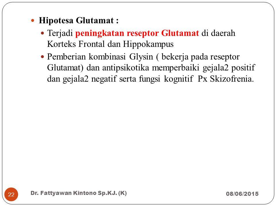 Hipotesa Glutamat : Terjadi peningkatan reseptor Glutamat di daerah Korteks Frontal dan Hippokampus Pemberian kombinasi Glysin ( bekerja pada reseptor