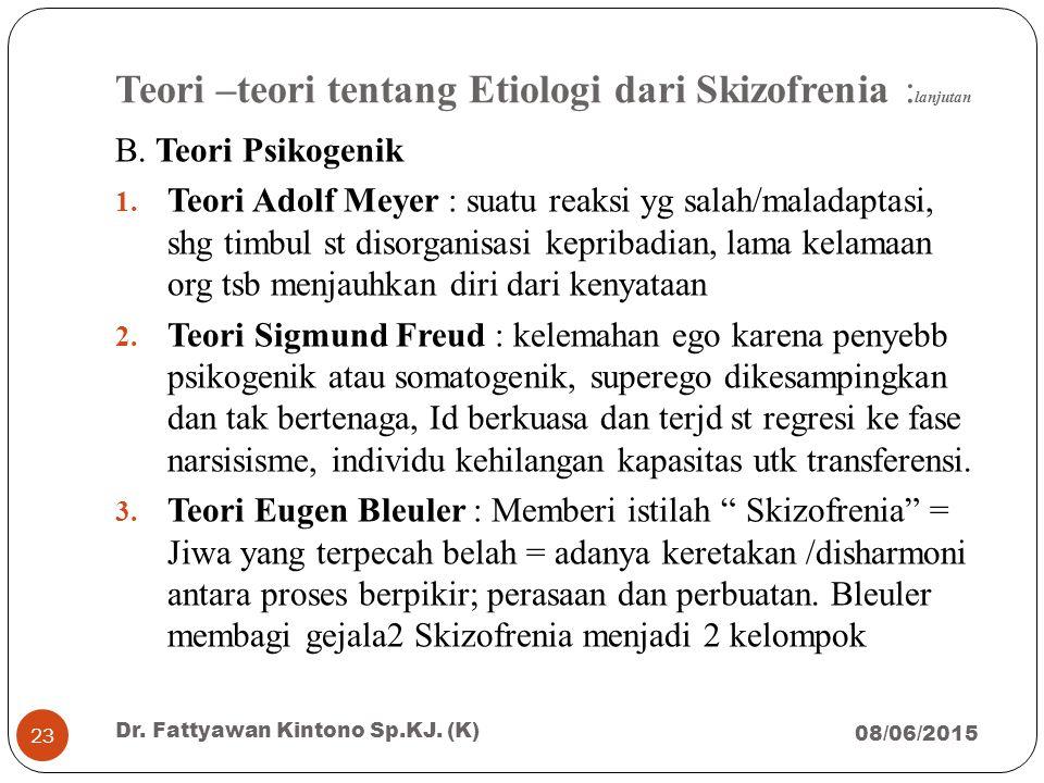 Teori –teori tentang Etiologi dari Skizofrenia : lanjutan B. Teori Psikogenik 1. Teori Adolf Meyer : suatu reaksi yg salah/maladaptasi, shg timbul st
