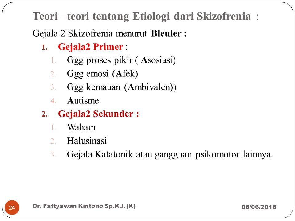Teori –teori tentang Etiologi dari Skizofrenia : Gejala 2 Skizofrenia menurut Bleuler : 1. Gejala2 Primer : 1. Ggg proses pikir ( Asosiasi) 2. Ggg emo