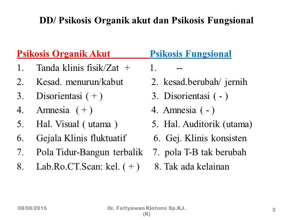 DD/ Psikosis Organik akut dan Psikosis Fungsional Psikosis Organik Akut Psikosis Fungsional 1.Tanda klinis fisik/Zat + 1. -- 2.Kesad. menurun/kabut 2.