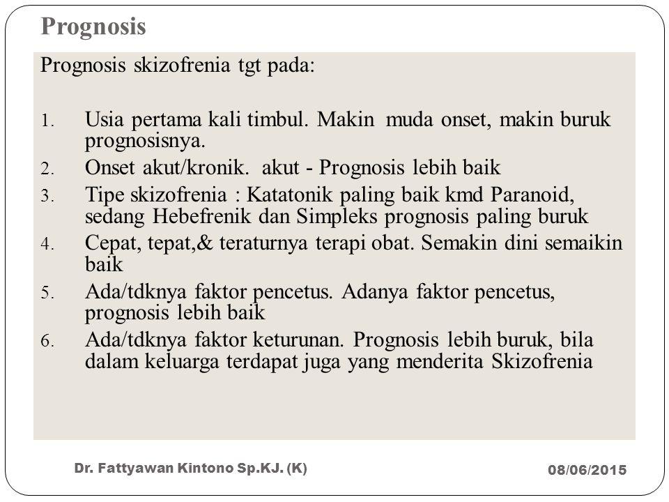 Prognosis 08/06/2015 Dr. Fattyawan Kintono Sp.KJ. (K) 35 Prognosis skizofrenia tgt pada: 1. Usia pertama kali timbul. Makin muda onset, makin buruk pr