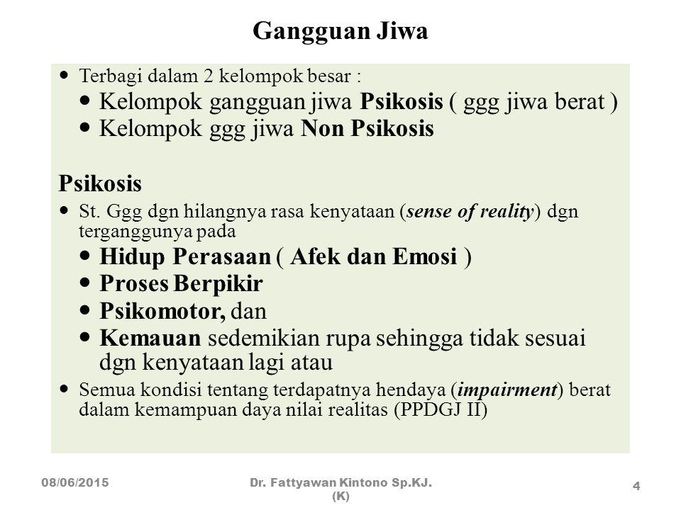 Gangguan Jiwa Terbagi dalam 2 kelompok besar : Kelompok gangguan jiwa Psikosis ( ggg jiwa berat ) Kelompok ggg jiwa Non Psikosis Psikosis St. Ggg dgn