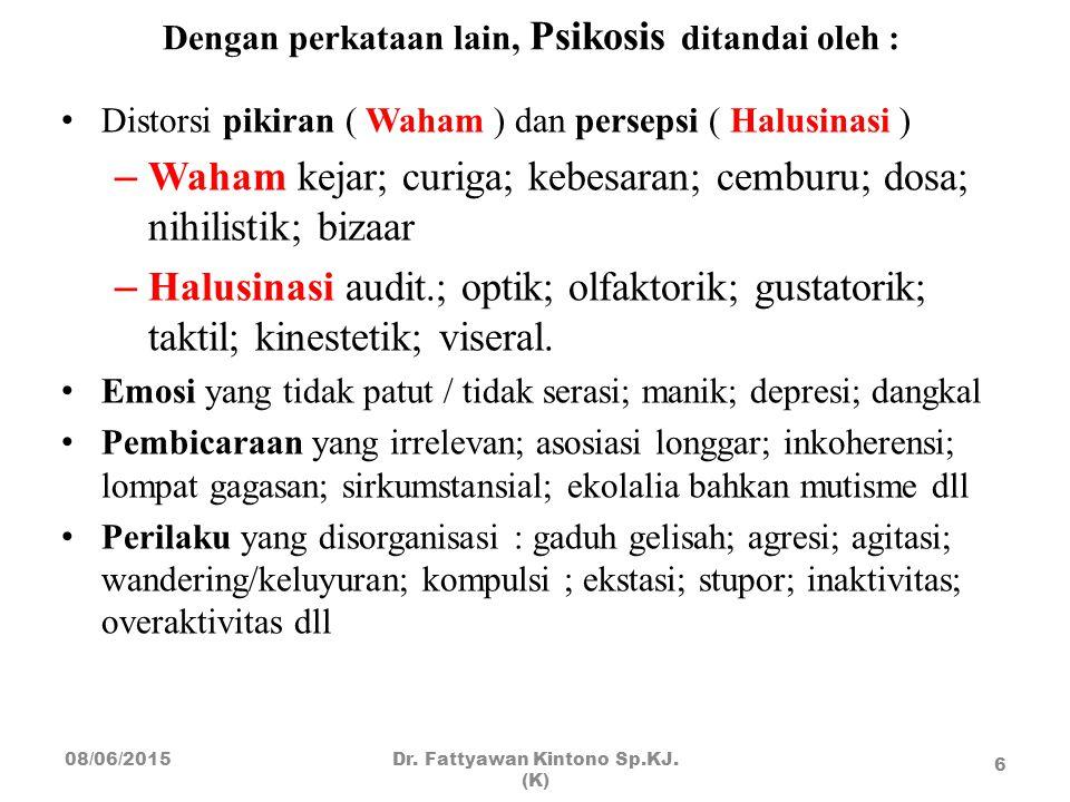 Dengan perkataan lain, Psikosis ditandai oleh : Distorsi pikiran ( Waham ) dan persepsi ( Halusinasi ) – Waham kejar; curiga; kebesaran; cemburu; dosa