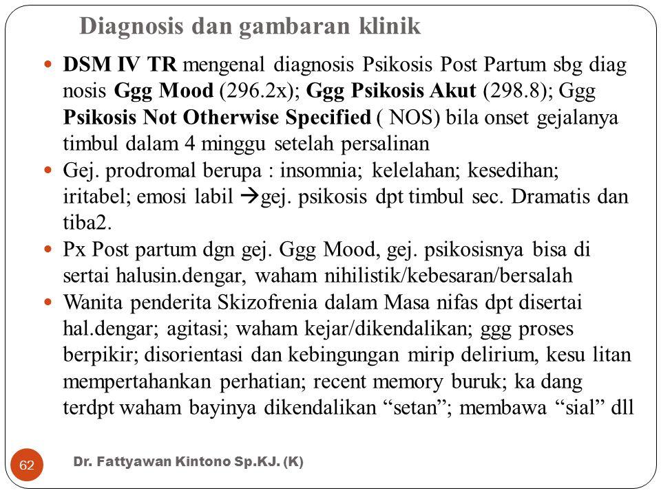 Diagnosis dan gambaran klinik DSM IV TR mengenal diagnosis Psikosis Post Partum sbg diag nosis Ggg Mood (296.2x); Ggg Psikosis Akut (298.8); Ggg Psiko