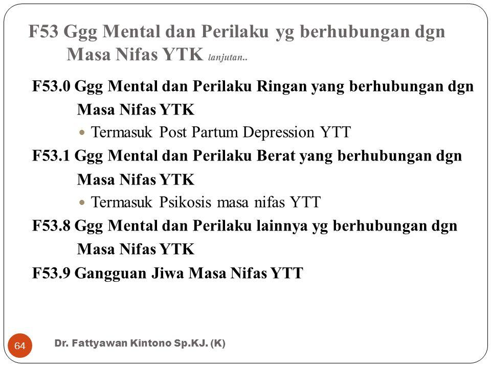 F53 Ggg Mental dan Perilaku yg berhubungan dgn Masa Nifas YTK lanjutan.. F53.0 Ggg Mental dan Perilaku Ringan yang berhubungan dgn Masa Nifas YTK Term