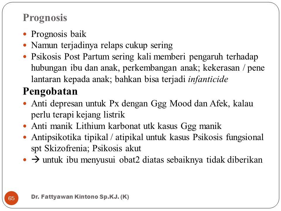Prognosis Prognosis baik Namun terjadinya relaps cukup sering Psikosis Post Partum sering kali memberi pengaruh terhadap hubungan ibu dan anak, perkem