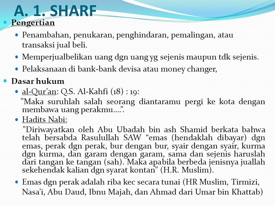 A. 1. SHARF Pengertian Penambahan, penukaran, penghindaran, pemalingan, atau transaksi jual beli. Memperjualbelikan uang dgn uang yg sejenis maupun td
