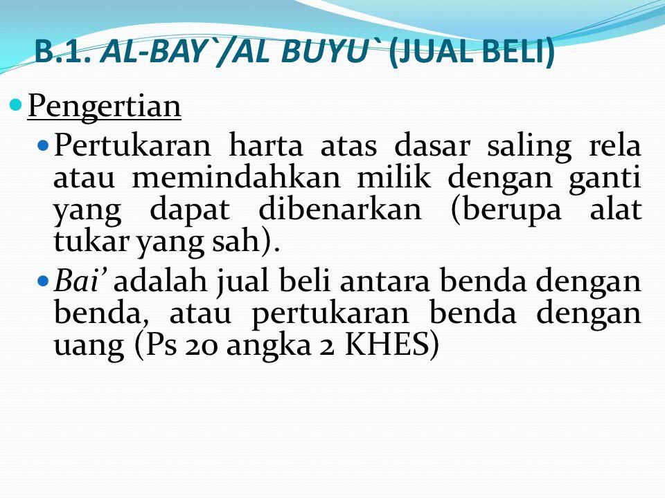 B.1. AL-BAY`/AL BUYU` (JUAL BELI) Pengertian Pertukaran harta atas dasar saling rela atau memindahkan milik dengan ganti yang dapat dibenarkan (berupa