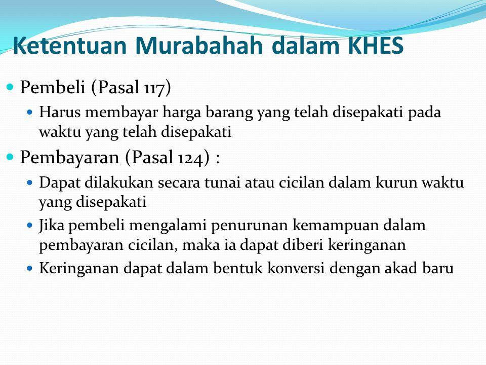 Ketentuan Murabahah dalam KHES Pembeli (Pasal 117) Harus membayar harga barang yang telah disepakati pada waktu yang telah disepakati Pembayaran (Pasa