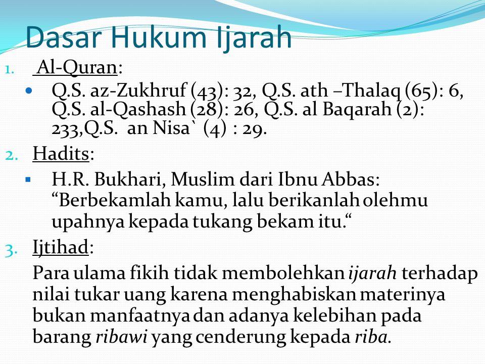 Dasar Hukum Ijarah 1. Al-Quran: Q.S. az-Zukhruf (43): 32, Q.S. ath –Thalaq (65): 6, Q.S. al-Qashash (28): 26, Q.S. al Baqarah (2): 233,Q.S. an Nisa` (