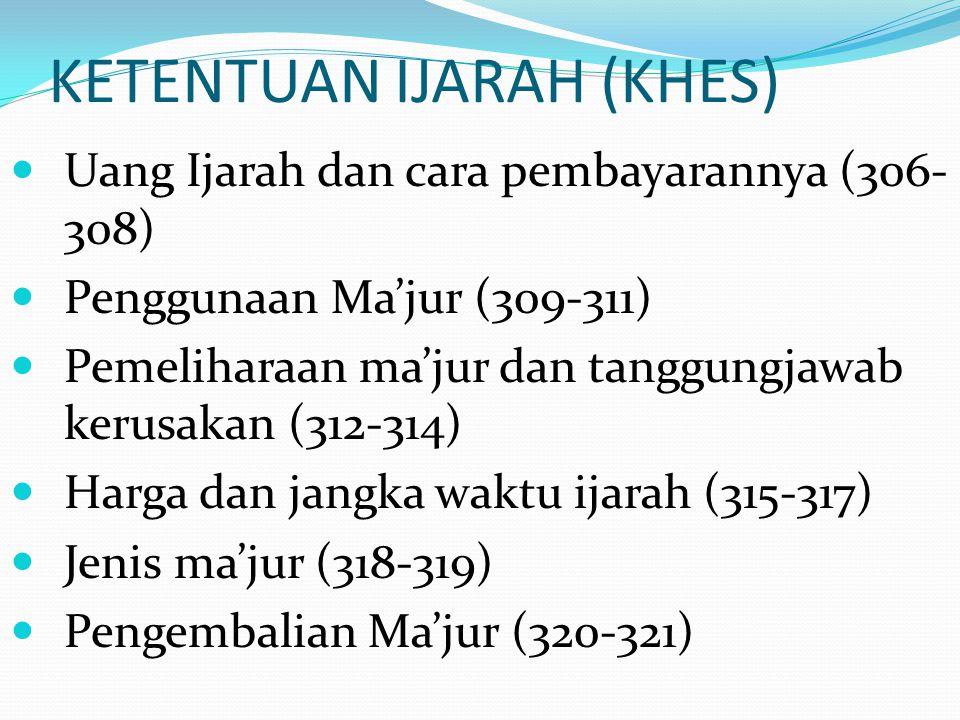 KETENTUAN IJARAH (KHES) Uang Ijarah dan cara pembayarannya (306- 308) Penggunaan Ma'jur (309-311) Pemeliharaan ma'jur dan tanggungjawab kerusakan (312