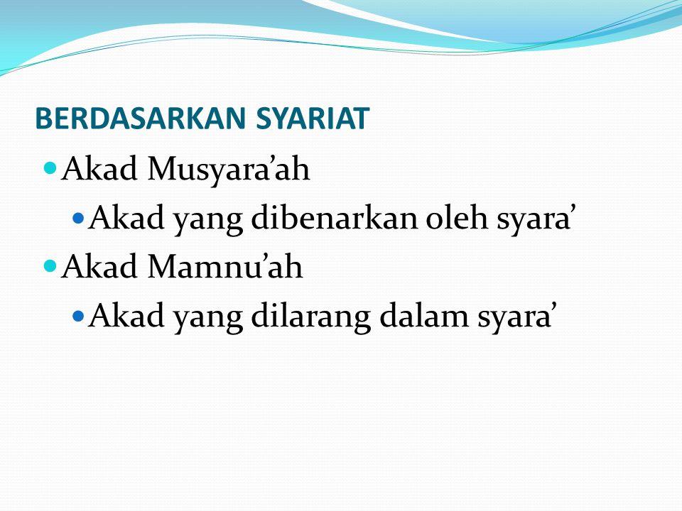 BERDASARKAN SYARIAT Akad Musyara'ah Akad yang dibenarkan oleh syara' Akad Mamnu'ah Akad yang dilarang dalam syara'