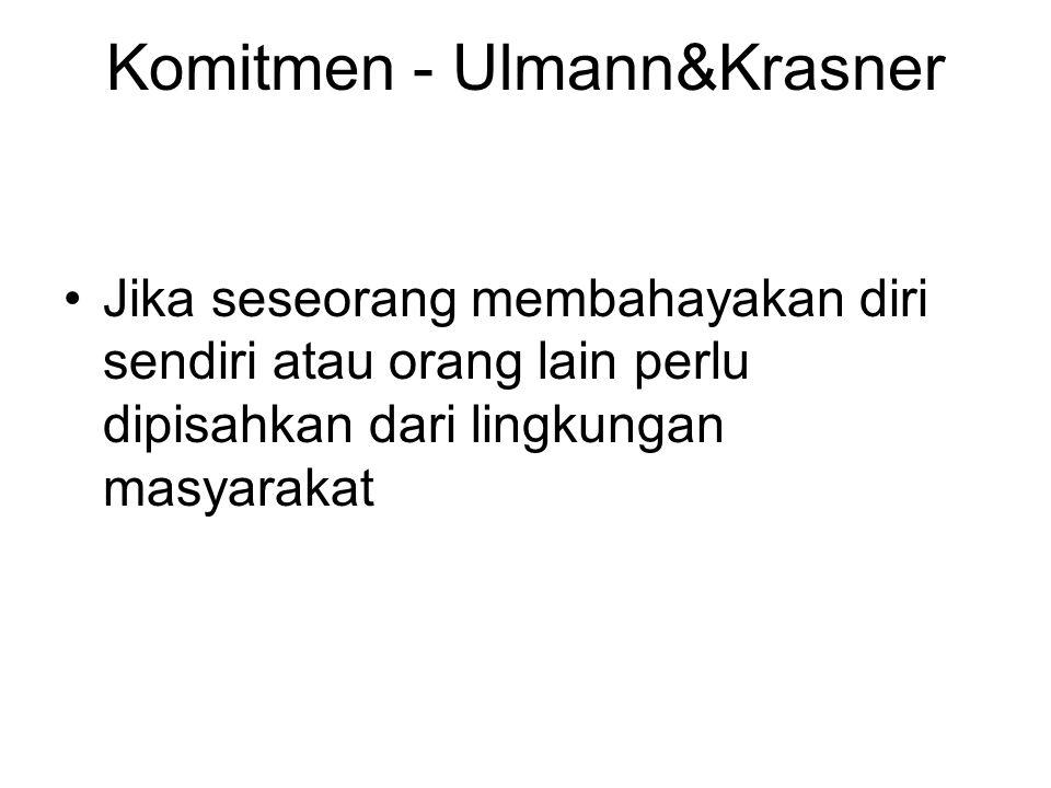 Komitmen - Ulmann&Krasner Jika seseorang membahayakan diri sendiri atau orang lain perlu dipisahkan dari lingkungan masyarakat