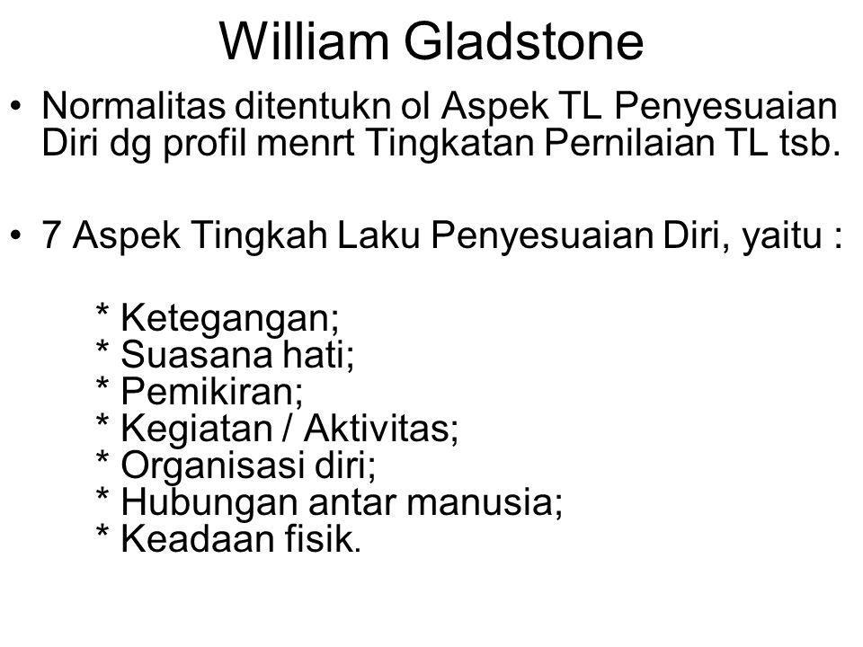 William Gladstone Normalitas ditentukn ol Aspek TL Penyesuaian Diri dg profil menrt Tingkatan Pernilaian TL tsb. 7 Aspek Tingkah Laku Penyesuaian Diri