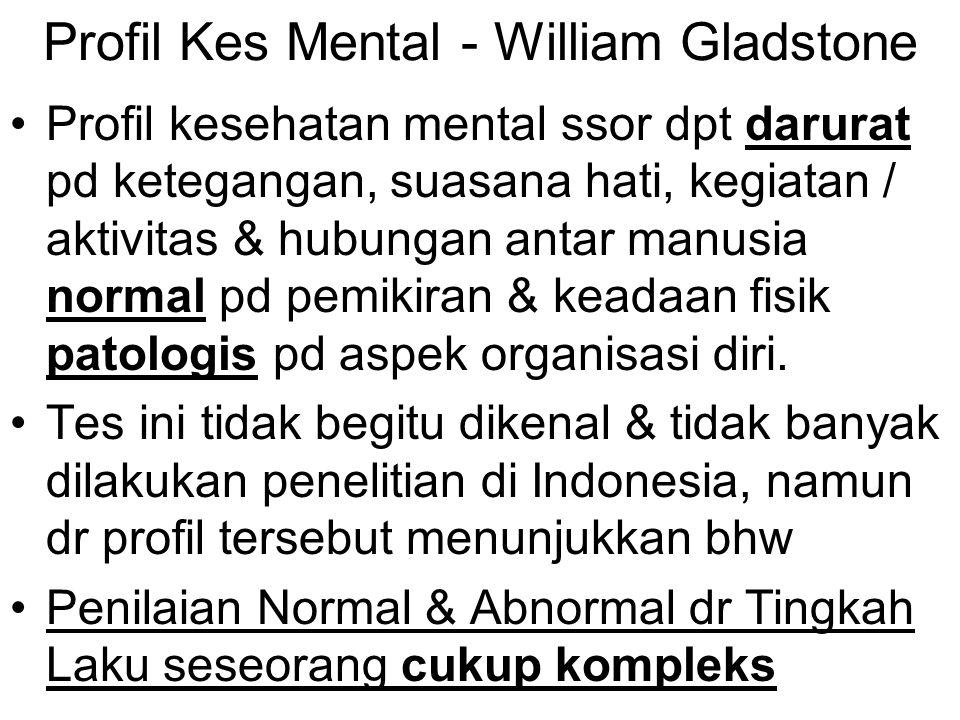 Profil Kes Mental - William Gladstone Profil kesehatan mental ssor dpt darurat pd ketegangan, suasana hati, kegiatan / aktivitas & hubungan antar manu
