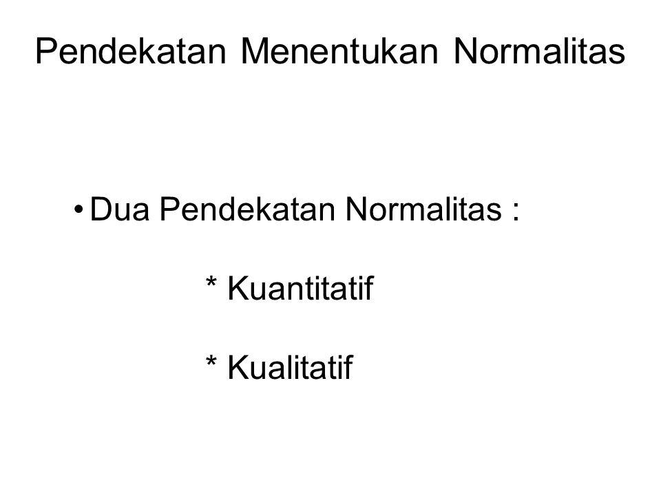 Pendekatan Menentukan Normalitas Dua Pendekatan Normalitas : * Kuantitatif * Kualitatif