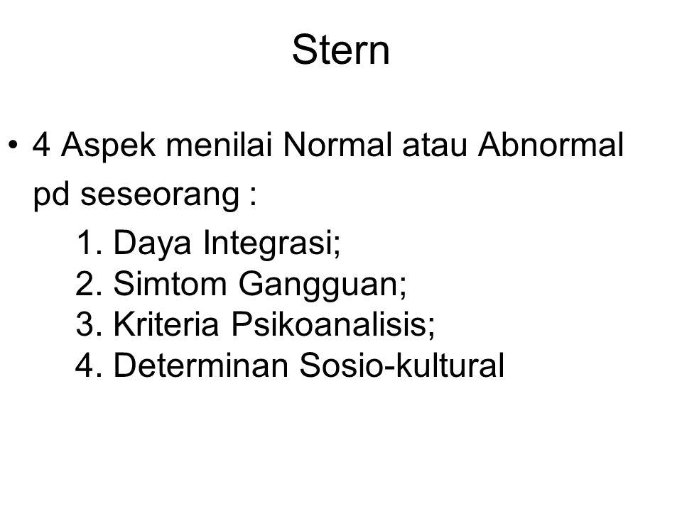 Stern 4 Aspek menilai Normal atau Abnormal pd seseorang : 1. Daya Integrasi; 2. Simtom Gangguan; 3. Kriteria Psikoanalisis; 4. Determinan Sosio-kultur
