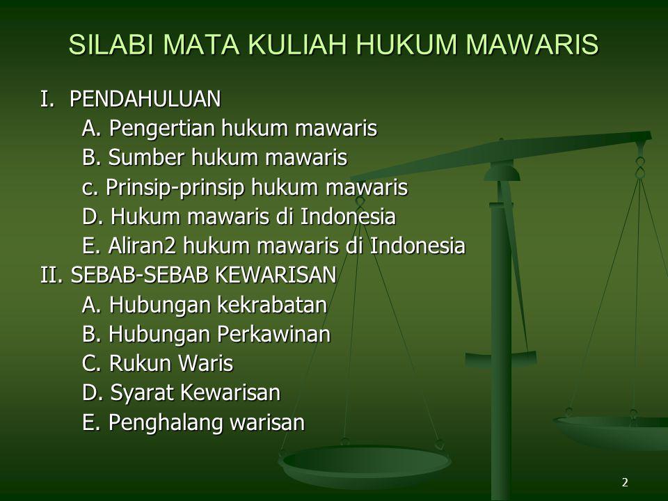 2 SILABI MATA KULIAH HUKUM MAWARIS I. PENDAHULUAN A. Pengertian hukum mawaris A. Pengertian hukum mawaris B. Sumber hukum mawaris B. Sumber hukum mawa