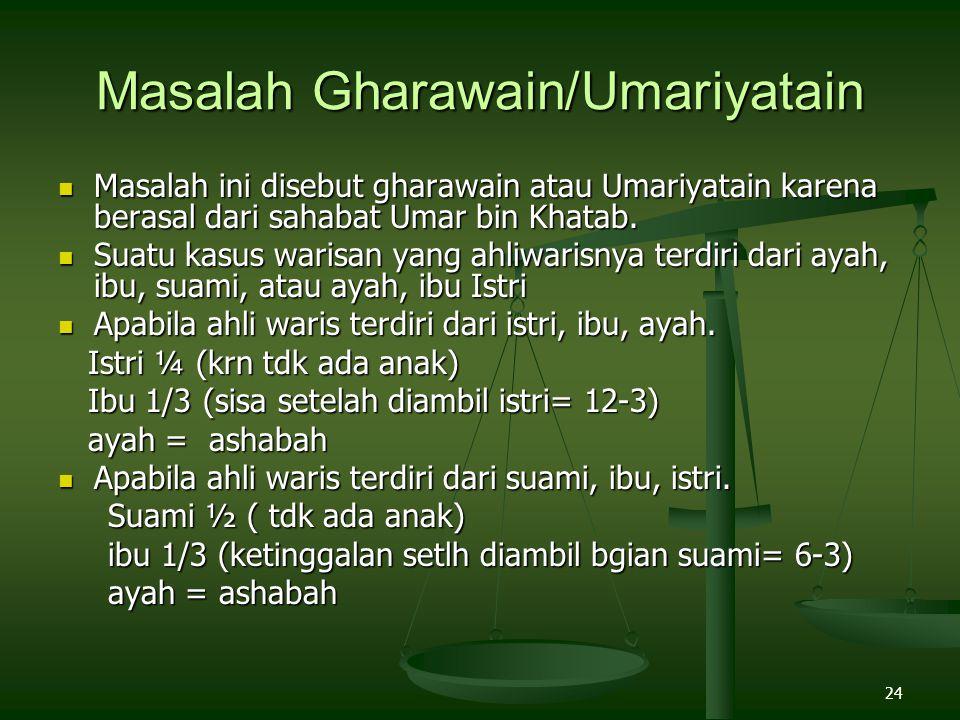 24 Masalah Gharawain/Umariyatain Masalah ini disebut gharawain atau Umariyatain karena berasal dari sahabat Umar bin Khatab. Masalah ini disebut ghara