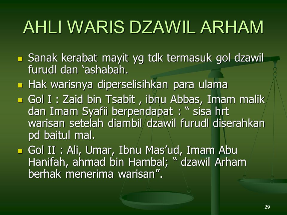 29 AHLI WARIS DZAWIL ARHAM Sanak kerabat mayit yg tdk termasuk gol dzawil furudl dan 'ashabah. Sanak kerabat mayit yg tdk termasuk gol dzawil furudl d