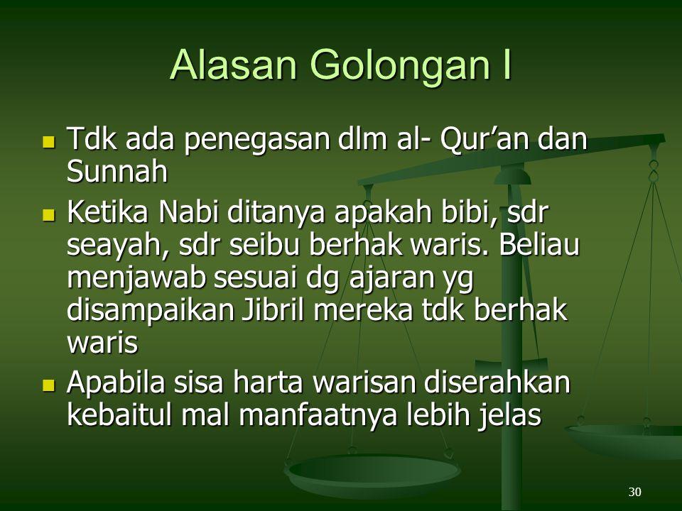 30 Alasan Golongan I Tdk ada penegasan dlm al- Qur'an dan Sunnah Tdk ada penegasan dlm al- Qur'an dan Sunnah Ketika Nabi ditanya apakah bibi, sdr seay
