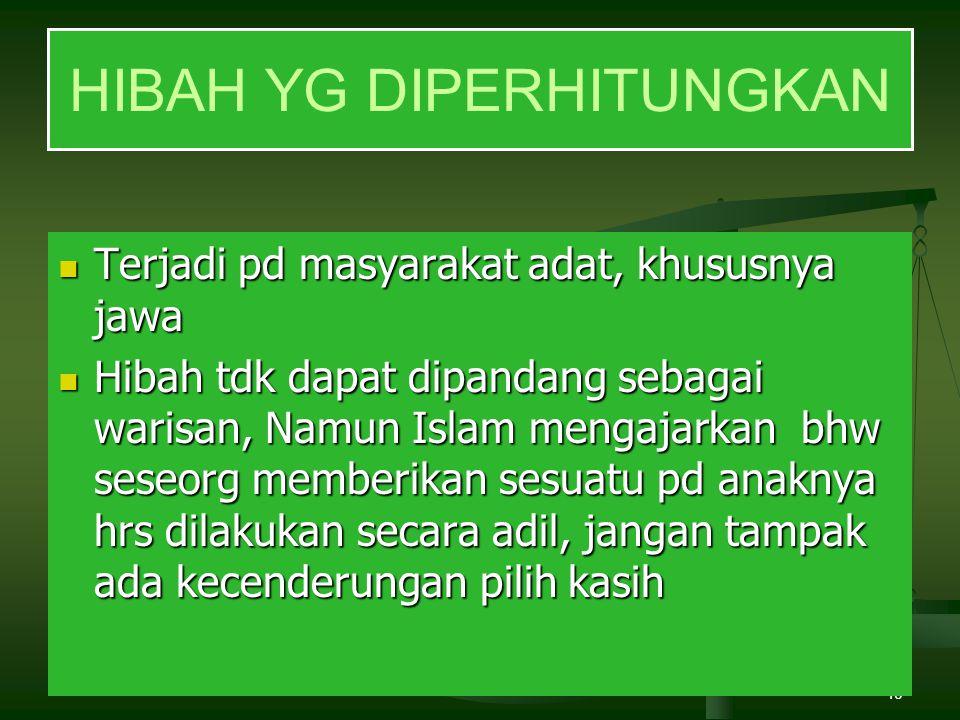 40 Terjadi pd masyarakat adat, khususnya jawa Terjadi pd masyarakat adat, khususnya jawa Hibah tdk dapat dipandang sebagai warisan, Namun Islam mengaj