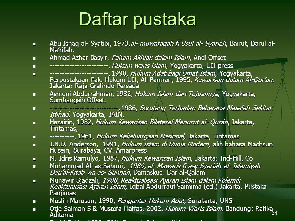 54 Daftar pustaka Abu Ishaq al- Syatibi, 1973,al- muwafaqah fi Usul al- Syariáh, Bairut, Darul al- Ma'rifah. Abu Ishaq al- Syatibi, 1973,al- muwafaqah